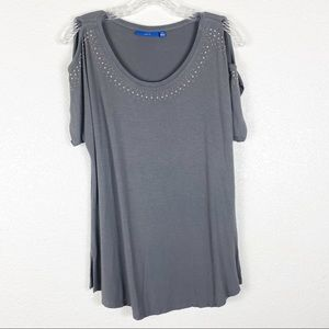 Apt 9 Gray Studded Cold Shoulder Casual Top